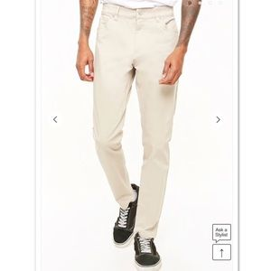 FOREVER 21 Men's Taupe Woven Skinny Pants